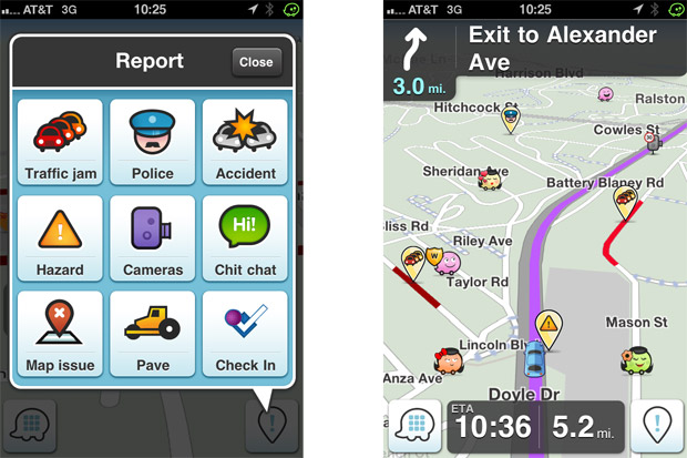WAZE GPS App screenshot